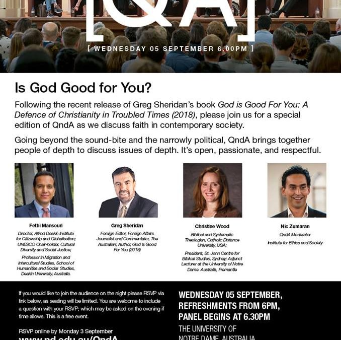 Event: 'Q&A: Is God Good For You? With Greg Sheridan'